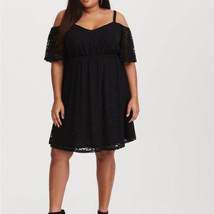 Torrid Black Lace Cold Shoulder Dress 3x